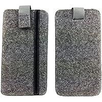 handy-point Filz Schutzhülle mit Kunstlederstreifen für Smartphone (5,5 Zoll) grau