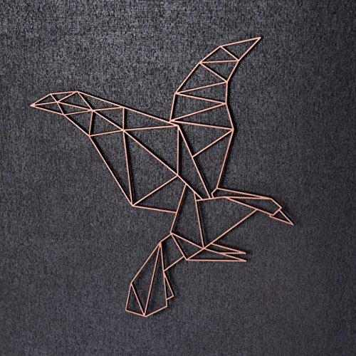 GRAVURZEILE Origami Adler aus Holz - in verschiedenen Farben & Größen - Moderne Wand-Deko & Eyecatcher - Farbe Silber, Größe: L (32,0 x 34,3 cm)