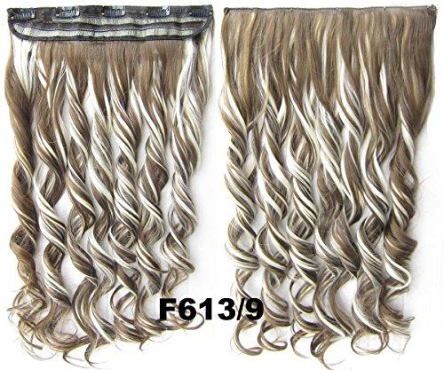 Meiya 61 cm 130 g Mélange Couleur pour femme New Fashion Long ondulés synthétiques Tête complète Clip dans les cheveux extension de cheveux pour cosplay ou de Noël