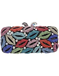 Bonjanvye Shining Studded Lips Shape Clutch Purse Rhinestone handbag for Ladies