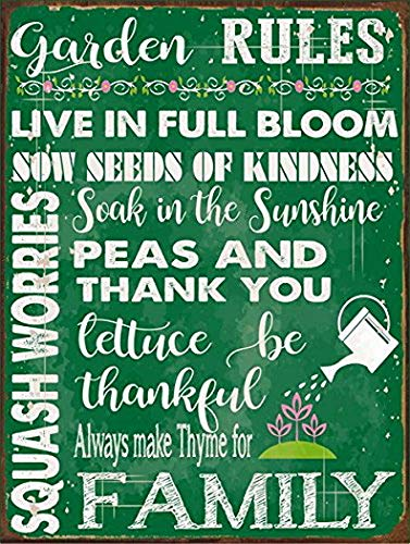 Harvesthouse Green Garden Rules Metal Sign, Spring, Country Home, Rustic décor by -