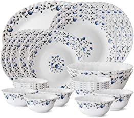 Larah by Borosil Helena Opalware Dinner Set, 27-Pieces, White