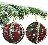 Set von 12 Luxus Weihnachtskugeln - Rot Tartan mit Creme und Schwarz Dekoration