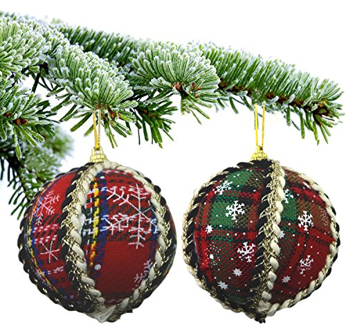 Lot de 12 boules de Noël de luxe - Tartan rouge avec décoration crème et noire