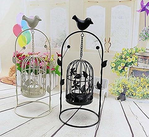 Écharpe porte rétro Casque à oiseaux Bougeoir Pastoral Aroma Light Iron Crafts Décoration artisanale créative Bougies ornements de dîner , Set of 2
