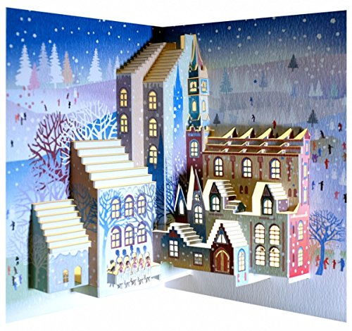 WE Pop Up 3D Karte Weihnachten Advent Grußkarte Kirchenchor im Schnee 16x11cm
