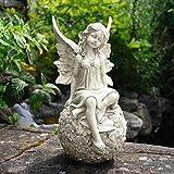Eclectic House Fairy auf Einem Floral Ball Sockel, Stein Effekt Garten Dekofigur Wetterfest Figur, ly60094