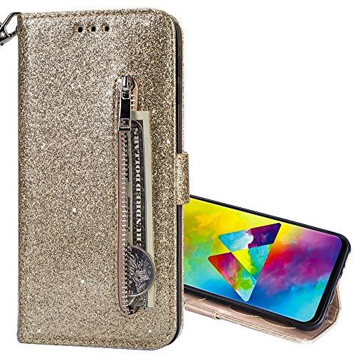 Nadoli Glitzer Handyhülle für Huawei P30 Pro,Reißverschluss Kartentaschen Entwurf Hell Glänzen Magnetverschluss Flip Bling Schutzhülle Etui im Brieftasche-Stil für Huawei P30 Pro