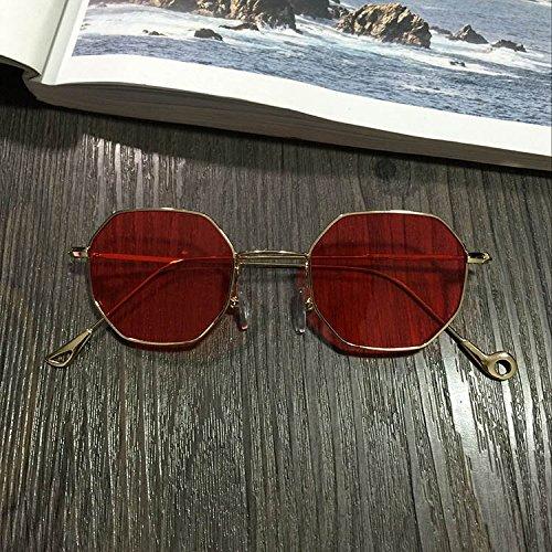 Sunyan Sonnenbrille, unregelmäßige Spiegel, Bein, Bein, Multi Line Sonnenbrillen, Straße, und Filmstars mit der gleichen Art von Metall Frame Brille, Rot Tabletten