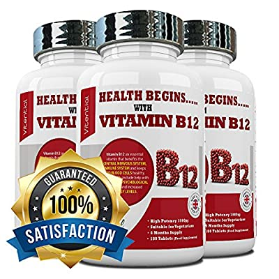 Vitamin B12 Methylcobalamin 1000 mcg highly dosed premium tablets 6 month supply perfect for vegetarians Made in the UK 100% SATISFIED OR MONEY BACK GUARANTEE by Vitential Nutrition