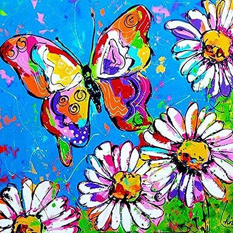 5d DIY Kit de peinture de diamant à broder Strass Collez-le Peinture/croix–avec Full carré Diamant et faites des Outil, Graffiti - Butterfly and Flower, 30 x 30 cm