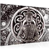 Bilder Buddha Blumen Wandbild 120 x 80 cm Vlies - Leinwand Bild XXL Format Wandbilder Wohnzimmer Wohnung Deko Kunstdrucke Grau 3 Teilig -100% MADE IN GERMANY - Fertig zum Aufhängen 504831c