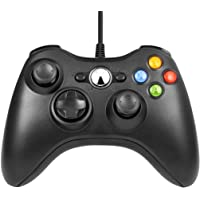 Controller PC, Wired Controller Xbox 360, Design Ergonomico Gamepad Precisione Ottimizzato, Doppia Vibrazione, Joystick PC/ Xbox 360/360 Slim/ Windows 7/8/10 (Nero)
