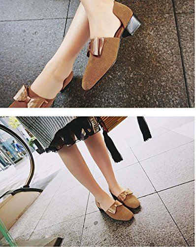 NobS Femmes Chaussures Scrub Cuir Chunky Heel Round Bow Square Toe Retro Fashion Mary Janes Chaussures light brown