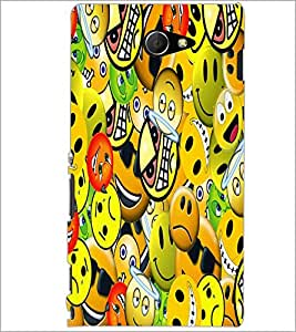 PrintDhaba Emoticons D-5581 Back Case Cover for SONY XPERIA M2 (Multi-Coloured)