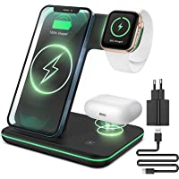CAVN 3 in 1 Kabelloses Ladegerät, Wireless Charger Kompatibel mit iPhone 12/11 Pro Max Mini/XS/XR/X/8+, iWatch 6/SE/5/4…