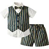 LGLE Baby Boy Ropa De Verano Falso Chaleco A Cuadros De Dos Piezas Camisa De Manga Corta + Traje De PantalóN Corto para BebéS