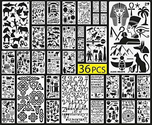 Aleks Melnyk Bullet Journal Schablone Plastik/36 PCS Planer Set für Journal/Lieferungen/Tagebuch/Notebook/Scrapbook DIY Zeichnung/Alphabet, Buchstabe, Zahl, ABC/Vorlage Journal Schablonen 4x7 Zoll -