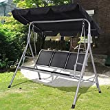 Tomtop Luxury 3 Seater Swinging Garden Hammock Swing Chair Outdoor Bench Seat Lounger