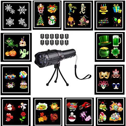Lecc LED Taschenlampe Weihnachtsbeleuchtung Projektor, LED Taschenlampe Mit 12 Muster Folien Und Stativ Mit Akku Für Party, Geburtstag, Weihnachten, Halloween