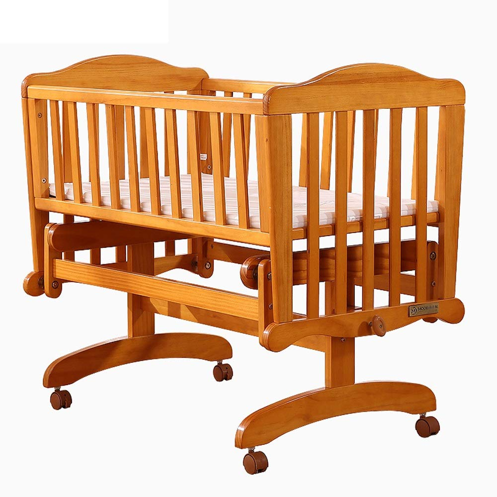 super popular 95d54 dc633 Kanqingqing Baby Cot 2 Modes Pine Nursery Side Bed Toddler Wood Baby Crib  Child Cradle Daybed Furniture (Color : Natural, Size : 98.7 * 57 * 81.6cm)