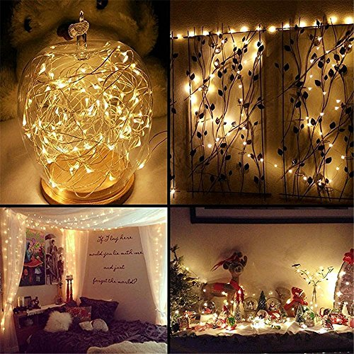 Lichterkette Außen, HUIHUI Wasserdicht 1M 10 LEDs Kupferdraht Lichterkette batteriebetrieben für Party, Garten, Weihnachten, Halloween, Hochzeit, Indoor & Outdoor Decor (Beige,One size) (Außen Party Decor)
