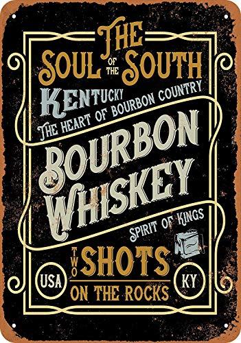 CHUNZO Kentucky Bourbon Whiskey Blechwand Zeichen Vintage Eisen Malerei Retro Kunst Warnung Metall Plaque Decor für Straße Garage Cafe Bar (Bourbon-bier)