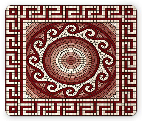 Mosaic with Classic Greek Meander Ornament Fractal Antique Pattern, Standard Size Rectangle Non-Slip Rubber Mousepad, Ruby Burgundy Coral Cream ()