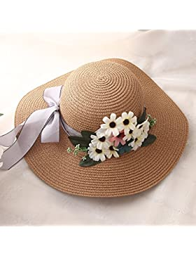 LVLIDAN Sombrero para el sol del verano Lady Anti-sol pescador sombrero de paja caqui