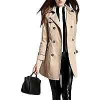 MISSMAO Donna - Trench Coat Cappotto Giacca - Basic - Maniche Lunghe Doppio Petto con Cintura - Classico y Elegante