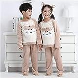 Children's Flannel Pajamas Kids Cartoon Winter Warm Pajamas Set For Boys and Girls Coral Fleece Soft Pajamas Pajamas Clothes