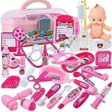 Jeu d'imitation -boîte de Pharmacie avec 31 accessoires(son et lumière ) pour jouer un docteur ,cadeaux pour les enfants d'âge préscolaire