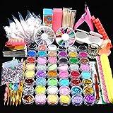 Ghfashion - Kit per manicure in acrilico con brillantini, lima e pennello, per disegno, pittura, punteggiatura, lucidatura