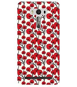 Chiraiyaa Designer Printed Premium Back Cover Case for Asus Zenfone Selfie (flower red pattern) (Multicolor)