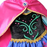 iEFiEL Eiskönigin Prinzessin Kostüm Mädchen Kleid Kinder Verkleidung Karneval Party Cosplay (104-110 (Herstellergröße 120), Rot+Blau) -