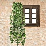 Musuntas 90cm Efeu Girlande Efeubusch Efeugirlande Efeuranke künstliche Kunstpflanze