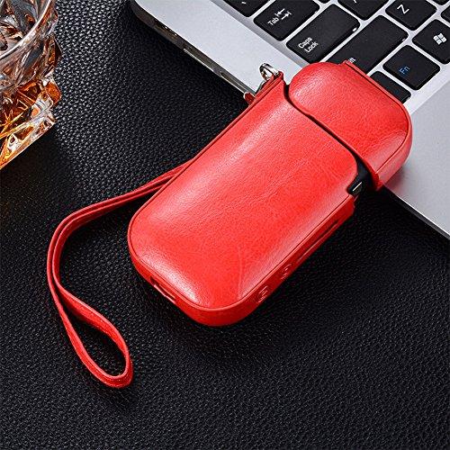 Etbotu Lipgloss, Tasche, kratzfest, stoßfest, aus PU-Leder, Tasche für elektronische iQOS - rot -