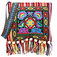 SimpleLife Clutch Handtas, Cross Body schoudertas met geborduurd ontwerp Chinese Hmong Thai borduurwerk Hill Tribe Totes Messenger kwasten tas Boho Hippie