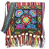 Wifun New Vintage Stickerei tasche Boho Hobo Hmong Ethnische Shopper Tasche frauen schulter umhängetasche Bestickte handtasche (rot)