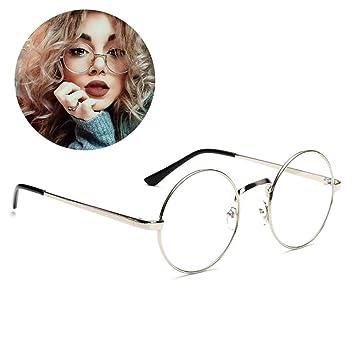 HENGSONG Lunettes Rondes Rétro Monture de Lunettes Myopie Metallique Sunglasses (Noir) hp1FoHoC