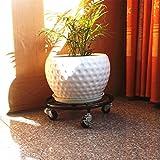 CKH Mobile Vaso per fiori in ferro Art Vassoio circolare per dischi ruvido Vaso mobile per fiori Bonsai Base per mensole in bronzo