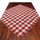 SeGaTeX home fashion Mitteldecke Landhaus-Tischdecke Karo mit Edelweiß in Rot 82 x 82 cm Rot-weiß Kariert für Den rustikal-gemütlichen Landhaus-Stil