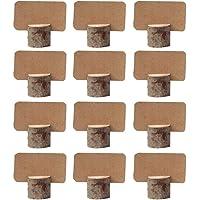 Amajoy 12 pezzi vintage matrimonio posto titolari di carta in legno con 12 pezzi Kraft segnaposto da tavola numero…