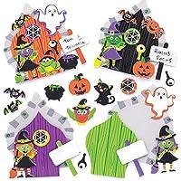 Baker Ross Kits de Puertas de Brujas (Pack de 4) para Manualidades y Decoraciones Infantiles de Halloween