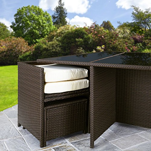 Bella Life Seater 10 Rattan Cube Garden Furniture Set cushions under table