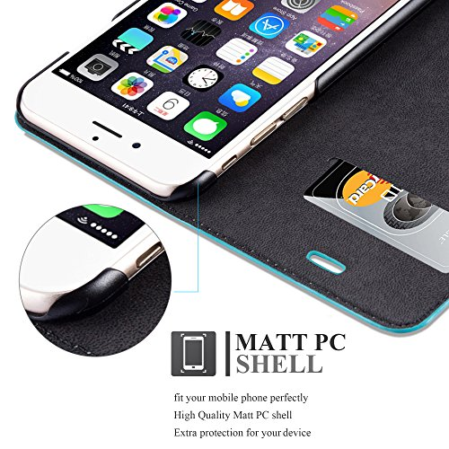 Cadorabo - Etui Housse pour Apple iPhone 6 PLUS avec Fermeture Magnétique Invisible (stand horizontale et fentes pour cartes) - Coque Case Cover Bumper Portefeuille in NOIR-NUIT TURQUOISE-PÉTROLE