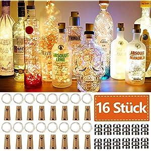16 Stück Flaschen-Licht JRing 20 LEDs 2M Flaschenlicht Warmweiß Lichterkette korken Stimmungslichter Weinflasche Nacht Licht für Flasche DIY, Party, Garten, Weihnachten, Halloween, Hochzeit Deko