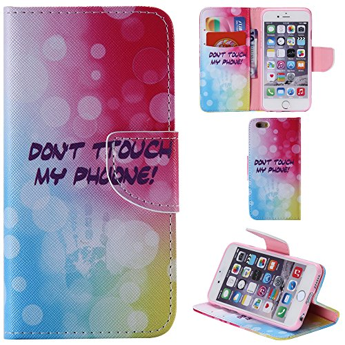Ooboom® iPhone 5SE Coque PU Cuir Flip Housse Étui Cover Case Wallet Portefeuille Fonction Support avec Porte-cartes pour iPhone 5SE - Chat Don't Touch My Phone