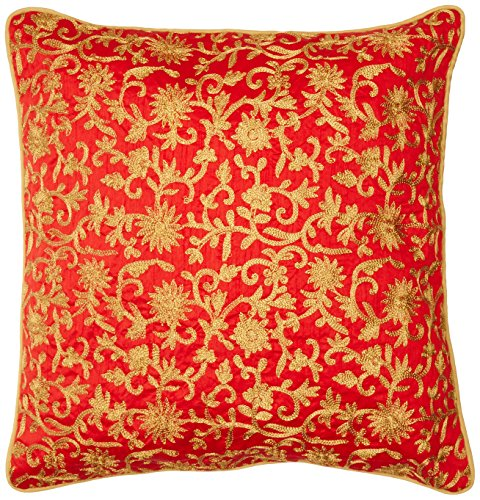 the-indian-promenade-16-x-16-cm-douppioni-motif-zari-work-housse-de-coussin-en-soie-rouge