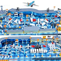 SGKN 200pcs Aircraft Set, Airplane Static Scene Model Toys, Simulation Airport Property, Waiting Hall+Plane+Bus+Fence+Radar+Travelers